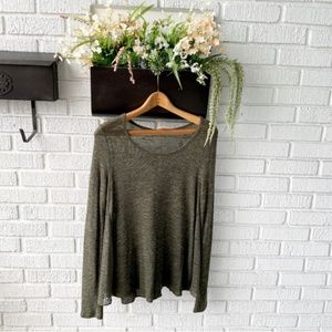 Mossimo Gray/Green Knit Top w/ Lace Detail